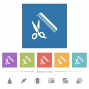Comb and scissors flat white icons in square backgrounds. 6 bonus icons included. - Comb and scissors flat white icons in square backgrounds