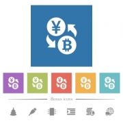 Yen Bitcoin money exchange flat white icons in square backgrounds. 6 bonus icons included. - Yen Bitcoin money exchange flat white icons in square backgrounds