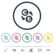 Euro Lira money exchange flat color icons in round outlines. 6 bonus icons included. - Euro Lira money exchange flat color icons in round outlines