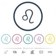 Leo zodiac symbol flat color icons in round outlines. 6 bonus icons included. - Leo zodiac symbol flat color icons in round outlines