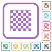 Chess board simple icons in color rounded square frames on white background - Chess board simple icons