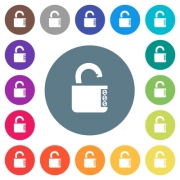 Unlocked combination lock with side numbers flat white icons on round color backgrounds. 17 background color variations are included. - Unlocked combination lock with side numbers flat white icons on round color backgrounds - Large thumbnail