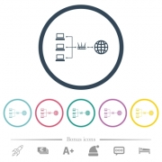 Network address translation flat color icons in round outlines. 6 bonus icons included. - Network address translation flat color icons in round outlines