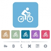 Bicycle with rider white flat icons on color rounded square backgrounds. 6 bonus icons included - Bicycle with rider flat icons on color rounded square backgrounds - Large thumbnail