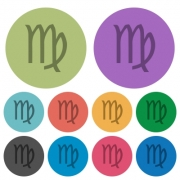 virgo zodiac symbol darker flat icons on color round background - virgo zodiac symbol color darker flat icons - Large thumbnail