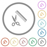 Comb and scissors flat color icons in round outlines on white background - Comb and scissors flat icons with outlines