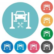 Car service flat white icons on round color backgrounds - Car service flat round icons