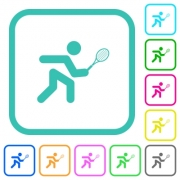 Tennis player vivid colored flat icons in curved borders on white background - Tennis player vivid colored flat icons