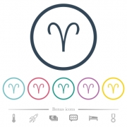 Aries zodiac symbol flat color icons in round outlines. 6 bonus icons included. - Aries zodiac symbol flat color icons in round outlines