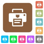IP printer flat icons on rounded square vivid color backgrounds. - IP printer rounded square flat icons