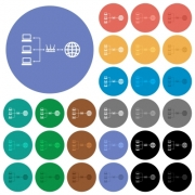 Network address translation multi colored flat icons on round backgrounds. Included white, light and dark icon variations for hover and active status effects, and bonus shades. - Network address translation round flat multi colored icons