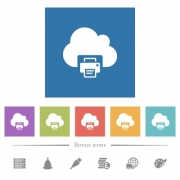Cloud printing flat white icons in square backgrounds. 6 bonus icons included. - Cloud printing flat white icons in square backgrounds