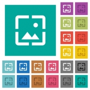 Wallpaper image multi colored flat icons on plain square backgrounds. Included white and darker icon variations for hover or active effects. - Wallpaper image square flat multi colored icons