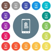 Mobile battery settings flat white icons on round color backgrounds. 17 background color variations are included. - Mobile battery settings flat white icons on round color backgrounds