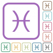 Pisces zodiac symbol simple icons in color rounded square frames on white background - Pisces zodiac symbol simple icons