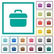 Toolbox flat color icons with quadrant frames on white background - Toolbox flat color icons with quadrant frames
