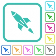 Rocket vivid colored flat icons in curved borders on white background - Rocket vivid colored flat icons