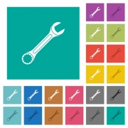 Single wrench multi colored flat icons on plain square backgrounds. Included white and darker icon variations for hover or active effects. - Single wrench square flat multi colored icons