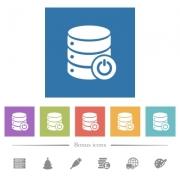 Database main switch flat white icons in square backgrounds. 6 bonus icons included. - Database main switch flat white icons in square backgrounds