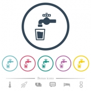 Drinking water flat color icons in round outlines. 6 bonus icons included. - Drinking water flat color icons in round outlines