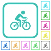 Bicycle with rider vivid colored flat icons in curved borders on white background - Bicycle with rider vivid colored flat icons