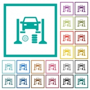 Tire repair shop flat color icons with quadrant frames on white background - Tire repair shop flat color icons with quadrant frames