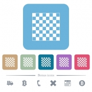 Chess board white flat icons on color rounded square backgrounds. 6 bonus icons included - Chess board flat icons on color rounded square backgrounds