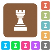 Black chess rook flat icons on rounded square vivid color backgrounds. - Black chess rook rounded square flat icons