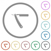 Straight razor flat color icons in round outlines on white background - Straight razor flat icons with outlines