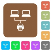 Network printing flat icons on rounded square vivid color backgrounds. - Network printing rounded square flat icons