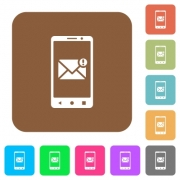 Smartphone incoming message flat icons on rounded square vivid color backgrounds. - Smartphone incoming message rounded square flat icons