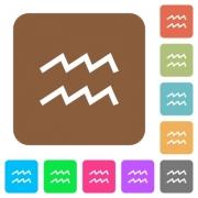 aquarius zodiac symbol flat icons on rounded square vivid color backgrounds. - aquarius zodiac symbol rounded square flat icons