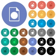 Certificate file multi colored flat icons on round backgrounds. Included white, light and dark icon variations for hover and active status effects, and bonus shades. - Certificate file round flat multi colored icons