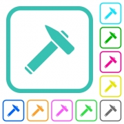 Old hammer vivid colored flat icons in curved borders on white background - Old hammer vivid colored flat icons