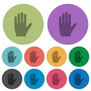 Left hand darker flat icons on color round background - Left hand color darker flat icons