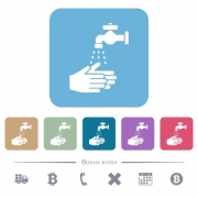 Hand washing white flat icons on color rounded square backgrounds. 6 bonus icons included - Hand washing flat icons on color rounded square backgrounds