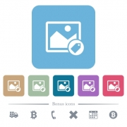 Image tagging white flat icons on color rounded square backgrounds. 6 bonus icons included - Image tagging flat icons on color rounded square backgrounds