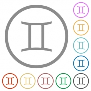 Gemini zodiac symbol flat color icons in round outlines on white background - Gemini zodiac symbol flat icons with outlines