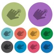 Left handed slide down gesture darker flat icons on color round background - Left handed slide down gesture color darker flat icons