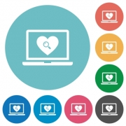 Online Dating on laptop flat white icons on round color backgrounds - Online Dating on laptop flat round icons