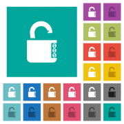 Unlocked combination lock with side numbers multi colored flat icons on plain square backgrounds. Included white and darker icon variations for hover or active effects. - Unlocked combination lock with side numbers square flat multi colored icons