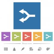Split arrows left flat white icons in square backgrounds. 6 bonus icons included. - Split arrows left flat white icons in square backgrounds