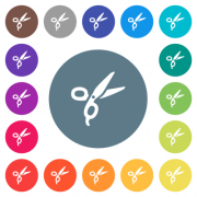 Barber scissors flat white icons on round color backgrounds. 17 background color variations are included. - Barber scissors flat white icons on round color backgrounds
