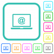 Laptop with email symbol vivid colored flat icons in curved borders on white background - Laptop with email symbol vivid colored flat icons