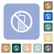 Cellphone not allowed white flat icons on color rounded square backgrounds - Cellphone not allowed rounded square flat icons