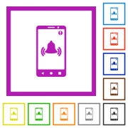 Mobile push notification flat color icons in square frames on white background - Mobile push notification flat framed icons
