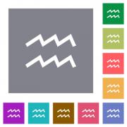 aquarius zodiac symbol flat icons on simple color square backgrounds - aquarius zodiac symbol square flat icons