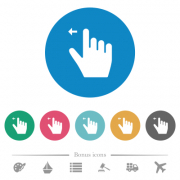 Right handed move left gesture flat white icons on round color backgrounds. 6 bonus icons included. - Right handed move left gesture flat round icons