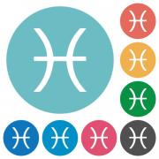 Pisces zodiac symbol flat white icons on round color backgrounds - Pisces zodiac symbol flat round icons
