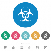 Biohazard sign flat white icons on round color backgrounds. 6 bonus icons included. - Biohazard sign flat round icons - Large thumbnail